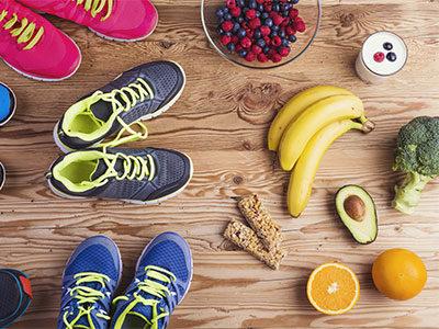 Sport Gesundheit Obst Gemüse Sportschuhe