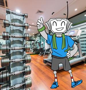 Mr Comfy im Fitnessstudio