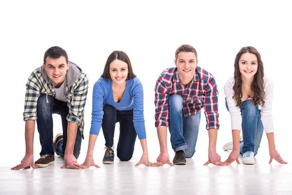 Jugendliche in Startposition