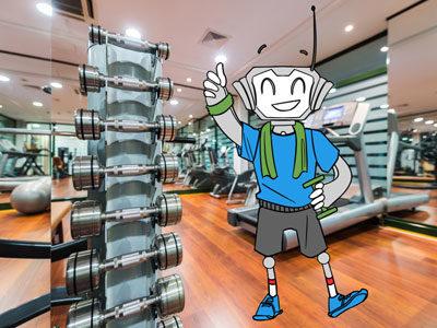 MrComfi im Fitnessraum